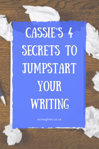 Cassie's 4 Secrets to jumpstart your writing. Image: Blank paper on desk surrounded by scrunched up papers