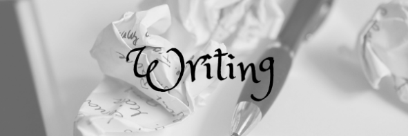 Writing Header. Image: Pen with scrunched up paper