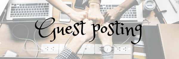 Guest posting page banner. Image of hands over a computer desk. Image from Pixabay