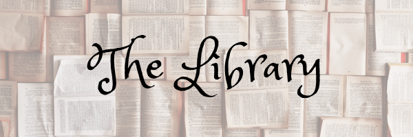 The Library page banner. Image of books from Pixabay