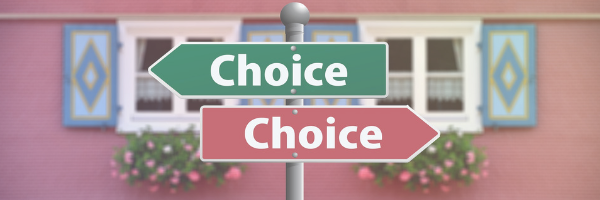 Signpost with Choice in both directions. Make a choice. Decisions to make. Image by Pixabay