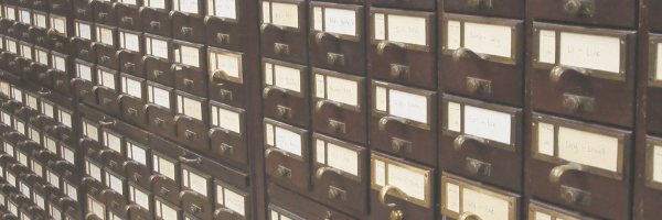 library card catalogue drawers.  Image from Pixabay