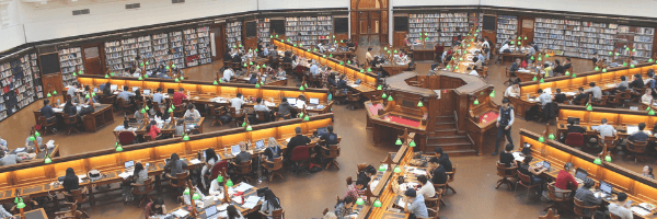 Large library hall. Image from Pixabay