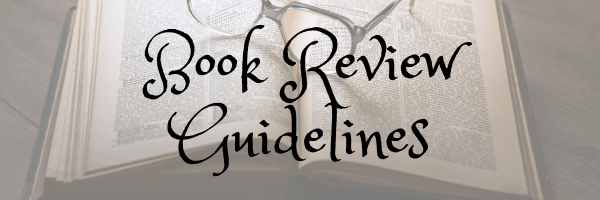 Book review guidelines banner.  Image of book with glasses from Pixabay