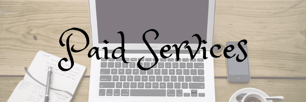 Paid services banner.  Image of laptop on desk from Pixabay