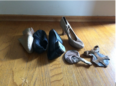 Dancer shoes. Different types of shoes for dancers. Image from Sam Rudy