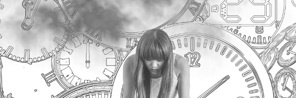 Foreshadowing using worry of future events. Woman looking worried, feeling the panic of time. Image from Pixabay