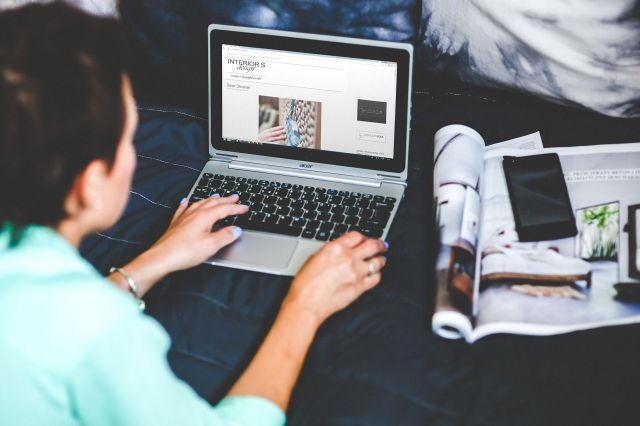 Freelancer using a laptop