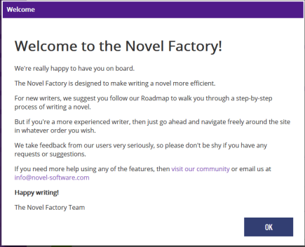 The Novel Factory - Welcome-Message