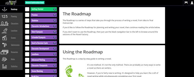 The Novel Factory - Dashboard - Navigation Bar and Work area