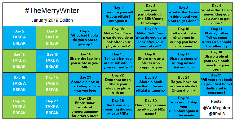 #TheMerryWriter Game Board January 2019