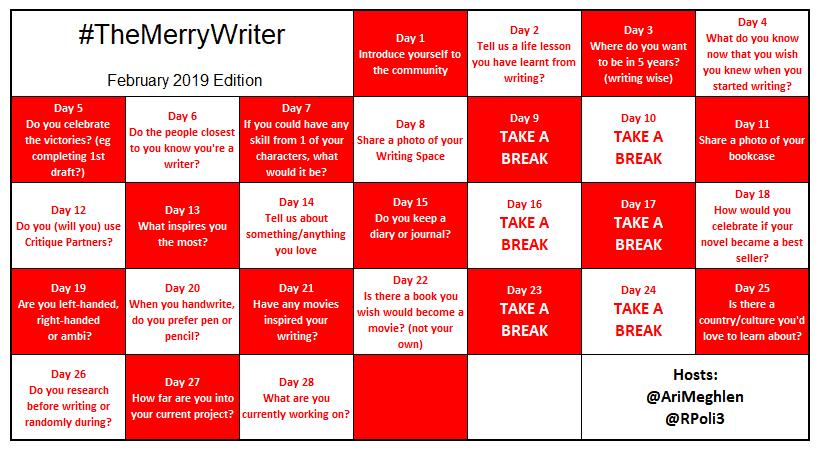 #TheMerryWriter Game Board February 2019
