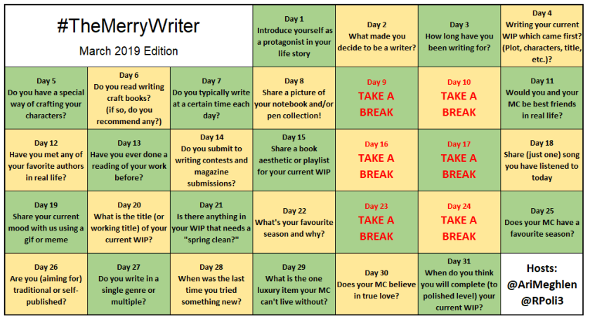 #TheMerryWriter Game Board March 2019