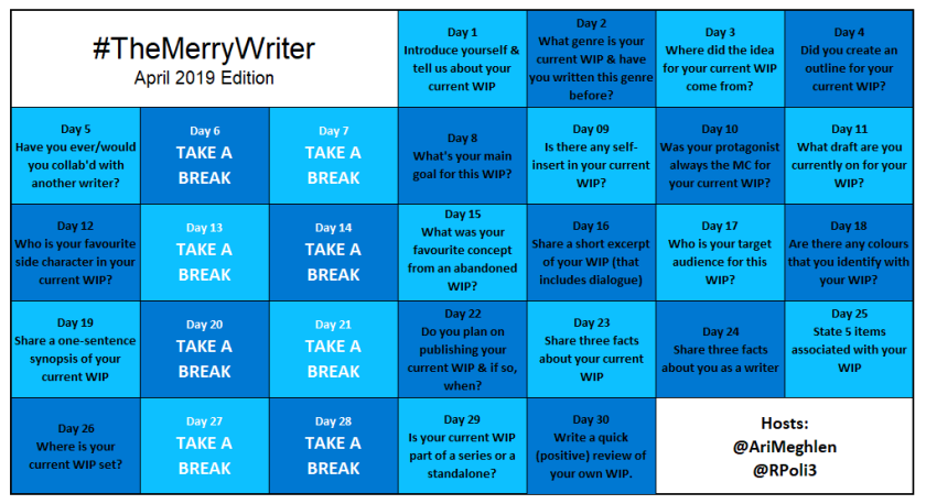 #TheMerryWriter Game Board April 2019