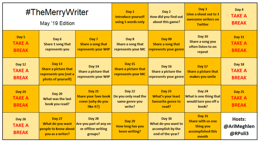 #TheMerryWriter Game Board May 2019