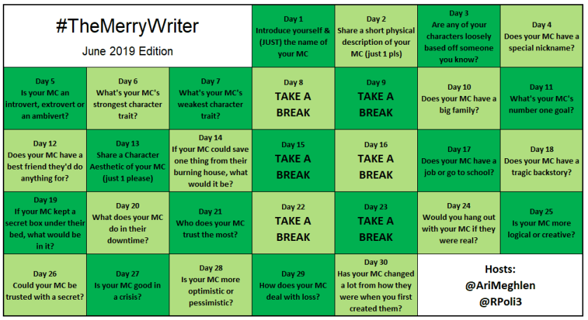 #TheMerryWriter Game Board June 2019