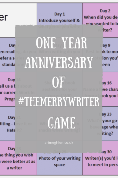 Banner - One Year Anniversary of #TheMerryWriter Game.  Created by Ari Meghlen.  Twitter Hashtag Game.