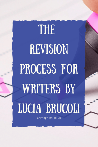 Banner - The Revision Process for Writers by Lucia Brucoli.  Image of a pink highlighter ticking checkboxes.  Image from Pixabay