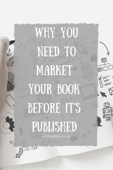 Blog post banner stating Why you need to market your book before it's published. Background image of scribbled notes about business and marketing. Image from Pixabay