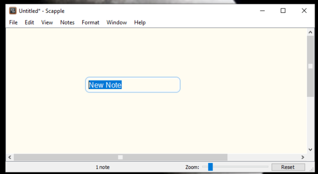 "Scapple brainstorming software, creating a new note. Screen with ""new note"""