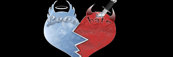 Illustration of a heart made up of two halves.  A pale blue with the words love across it and wings and a halo at the top.  The other half red with the word hate across and horns at the top along with a dagger piercing the heart.  Image from Pixabay