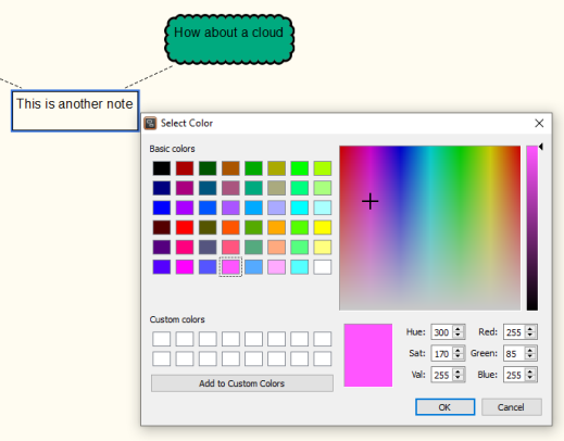 Scapple Brainstorm software - colour palette