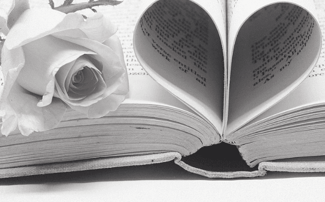 Featured Image - Image of a book with pages curled into a heart shape and a rose beside. Image from Pixabay