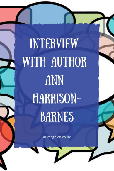 Banner - Interview with author Ann Harrison-Barnes. Background image of speechbubbles