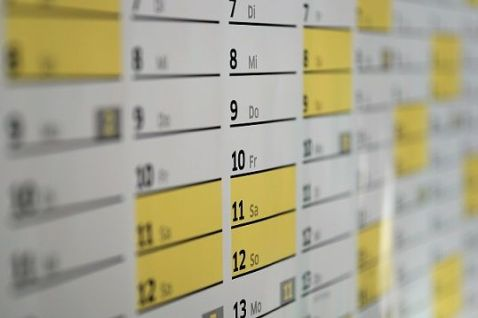 Close-up of Calendar, diary, wall calendar.  Image from Pixabay