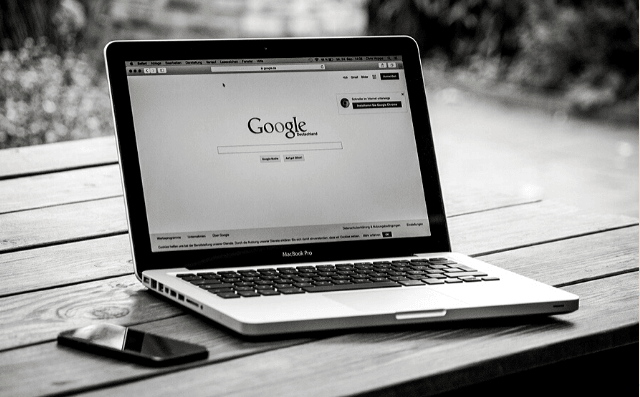 Featured Images - Laptop with Google search visible. Using Google Translator