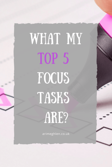 Banner - What my top 5 tasks are.  Image of a highlighter ticking a checklist