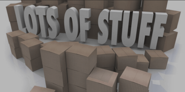 Blog Image - stacks of cardboard boxes with the words Lots of Stuff in the middle.