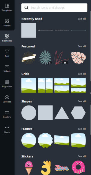 Canva Menu Bar Elements.  Canva supplies everything from grids to shapes, lines, stickers and more for use in your designs