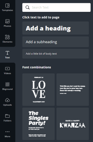 Canva Menu Bar Text options.  Canva supplies a large quantity of different fonts and styles of text.
