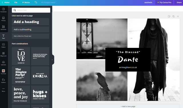 Canva design. An aesthetic made from a photo collage template. Book aesthetics