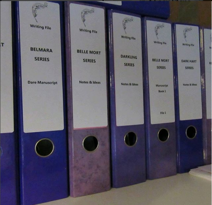 Photo of Ari Meghlen's novel notes binder collection.