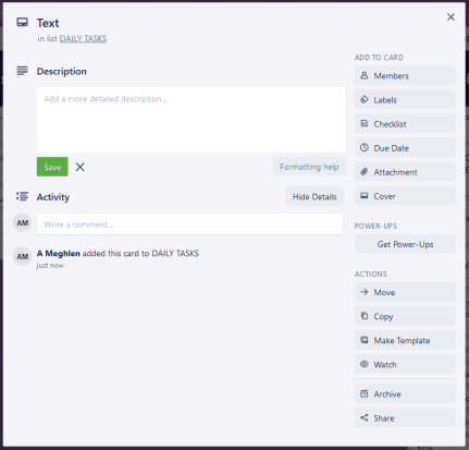 Screenshot of a trello card opened