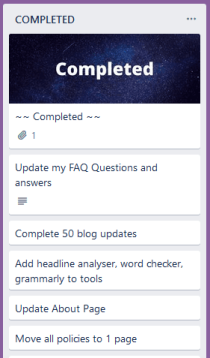 Screenshot of my completed list on trello
