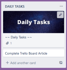 Screenshot of my daily tasks list on trello