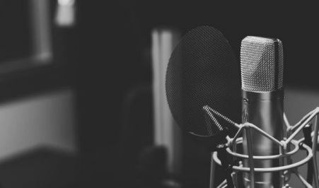 Featured Images - The Merry Writer Podcast. Photo of a microphone.