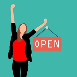 Vector image of a woman with her arms up and an open sign beside her.  Image from Pixabay
