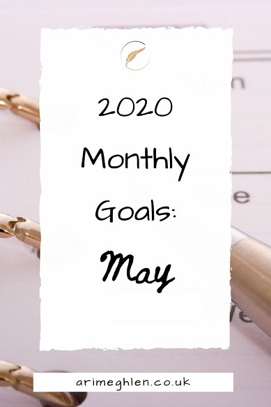 Banner - 2020 Monthly Goals May.  Ari's Monthly goals for accountability