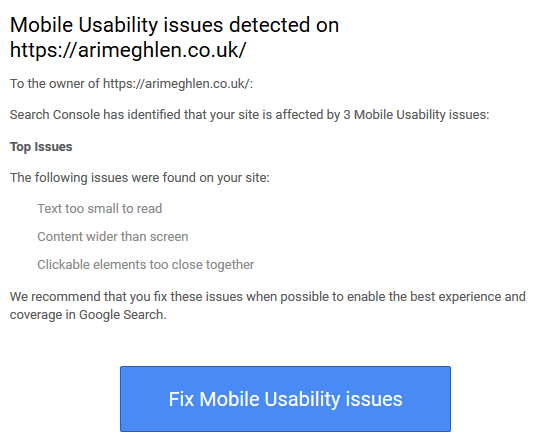 Screenshot of Mobility Usability Issues email stating website had three main issues - text too small to read, content wider than screen, clickable elements too close together.