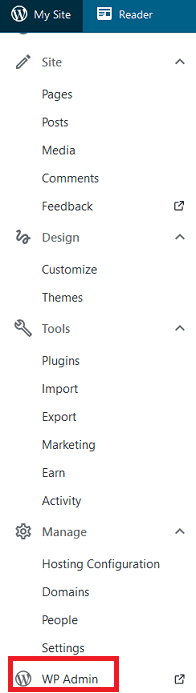 Screenshot of WordPress Dashboard sidebar menu