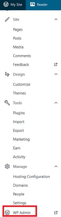 Screenshot of WordPress Dashboard sidebar menu
