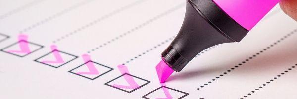 Blog Image - Pink marker pen ticking a checklist.  Audit.  Image from Pixabay