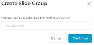 "Visme Dialogue box ""Create Slide Group"" - please enter a name for the new slide group"