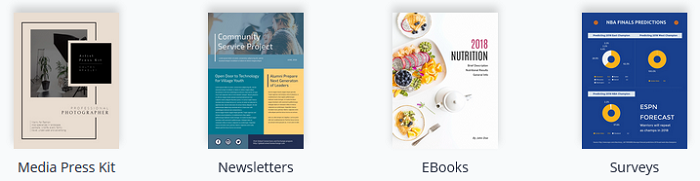 Visme Document Templates.  Media Press Kit.  Newsletters. eBooks. Surveys