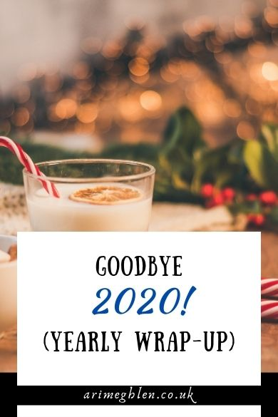 "Banner reading ""Goodbye 2020! (yearly wrap-up) over an image of Christmas eggnog and Christmas greenery"