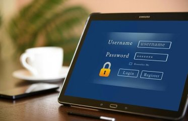 Passwords, user name and password log in screen on a laptop